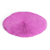 Round Pink Sheepskin Rug