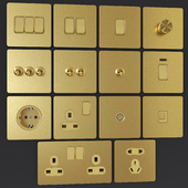 LIWBET golden brushed wall sockets & switches