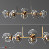 8 Light Staggered Glass Chandelier