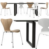 Essay Table with Series 7 and Ant Chair by Fritz Hansen