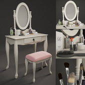 Table With Mirror and Puff Chair