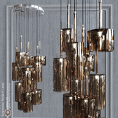 Pendant lamp AXO Light Spillray SP lamps 12 metallic bronze glass
