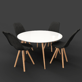 BOVIO Dining Table with Black DAKOTA Chairs