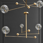 Pendant lamp Globe Mobile 3 brass