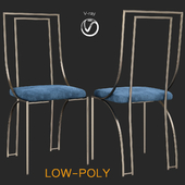 Set of 6 high back brass chairs (low poly)