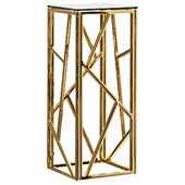 Serene Furnishing Dark Chrome Marble Top stand, Gold Clear Glass