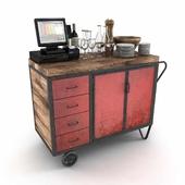 Red Industrial Metal Cupboard - waiter station loft style 3d model