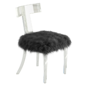 Lucite Side Chair Upholstered in Natural Sheepskin