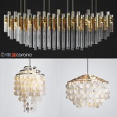 Capiz Chandelier & Luxxu Waterfall Chandelier Set