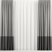 Two-tone curtains with tulle.