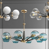 Люстра Thalia chandelier Blue glass