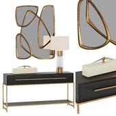 Консоль Midnight Console Table  и лампа Brass and Glass Table Lamp  John Richard