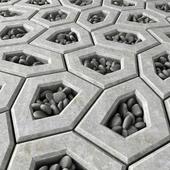 Площадь из многоугольников с галькой / Area Ngon paving pebble