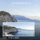 Set of panoramas of the rocky seashore