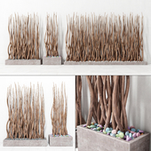 Planter rectangle concrete branch / Planter rectangular concrete with branches