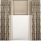 Прямые коричневые шторы с римской и тюлем.