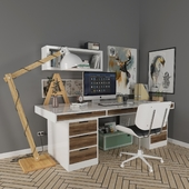 scandinavian desk set_workplace wooden