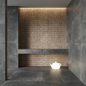 FLAVIKER Nordik Stone BLACK and DOMINO BLACK Tile Set