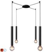Zinc 1 Light Long Pendant in Black