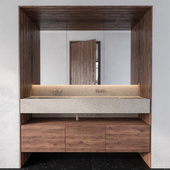 Wood and Concrete Wash Basin