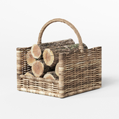 Round Rattan Log Basket