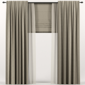 Brown curtains with Roman and tulle.