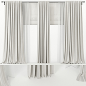 Wide  curtains with Roman and tulle.