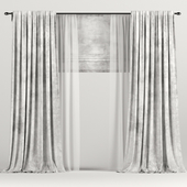 Velvet white curtains with Roman and tulle.
