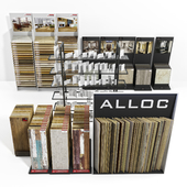 Exhibition stands with samples of laminate, porcelain tile, stucco molding