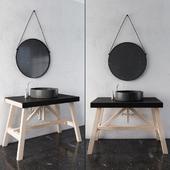 Black and wood Rustic Bathroom Furniture