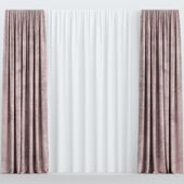 Pink velvet curtains with tulle