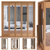 Slimfold Oak Marston Clear Glass Folding Door System