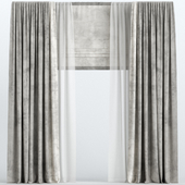 Brown velvet curtains with Roman and tulle