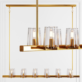 Restoration Hardware PAUILLAC LINEAR CHANDELIER 60 Glass shade and Brass