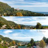3 Panoramas. Black Sea, Abkhazia. New Athos