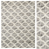 Anchor Grey White Textured Ogee Pattern Rug