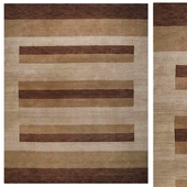 Indian Hand Knotted Gabbeh Striped Carpet