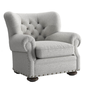 RH Churchill Fabric Chair with Nail Heads