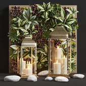 Декоративный набор фонари Pottery Barn CHESTER BRUSHED BRASS LANTERN