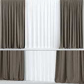 Wide brown curtains.