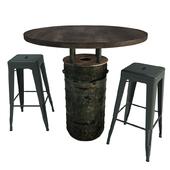 Black Barrel Table and Tolix Barstools