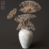 Floor vase with dry hogweed