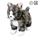 LILLEPLUTT Soft toy cat gray white