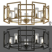 Marco 5 Light White Gold Chandelier with Clear Glass Shade