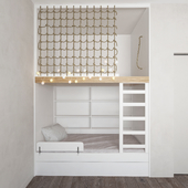 Bunk design with a bed and a play floor