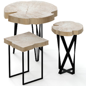 Set of wooden slab chairs.