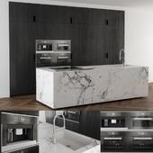 Kitchen black wood and Marble island