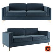 Rosalina 84 Blue Velvet Sofa