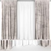 Коричневые шторы из бархата с тюлем