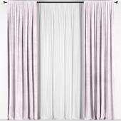 Розовые шторы из бархата
